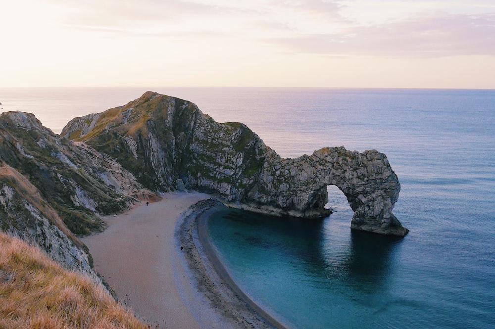 high angle photo of island