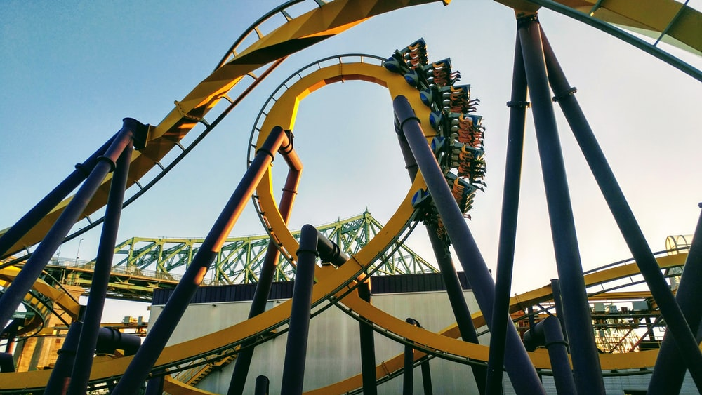yellow and multicolored roller coaster