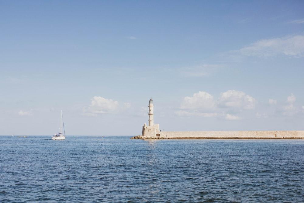 white lighthouse scenery