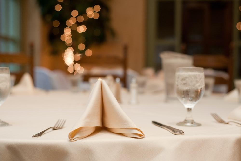 white handkerchief on table