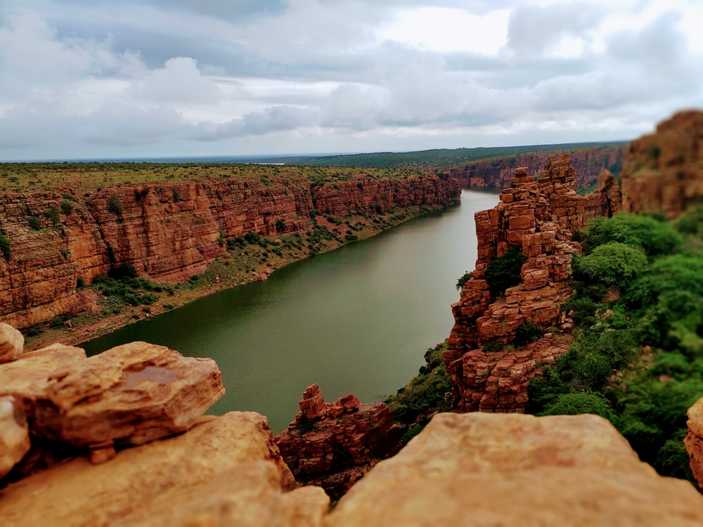 river near rock formations