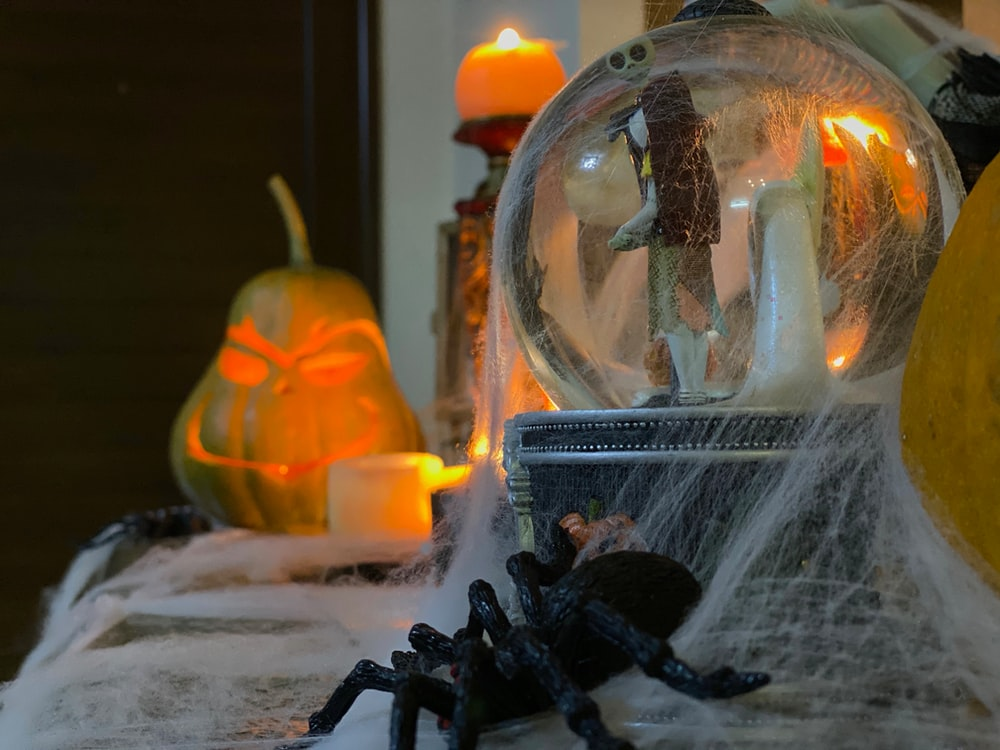 water globe with cob webs