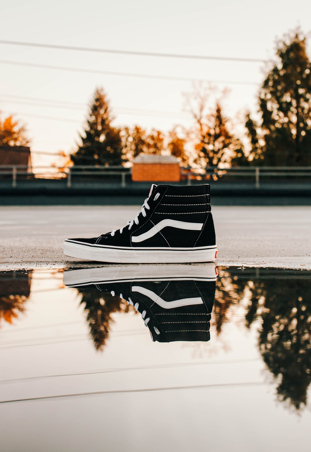 unpaired black and white Vans sneakers