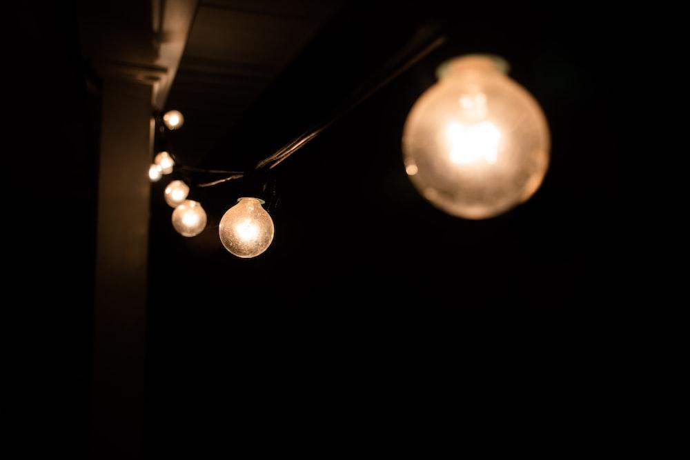 turned on bulbs