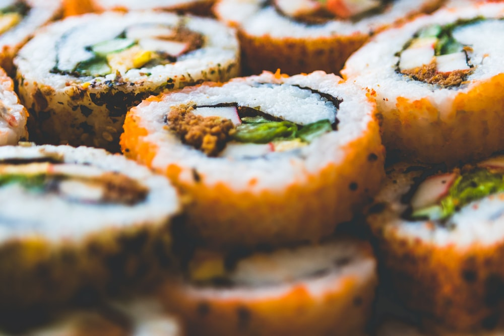 shallow focus photography of California rolls
