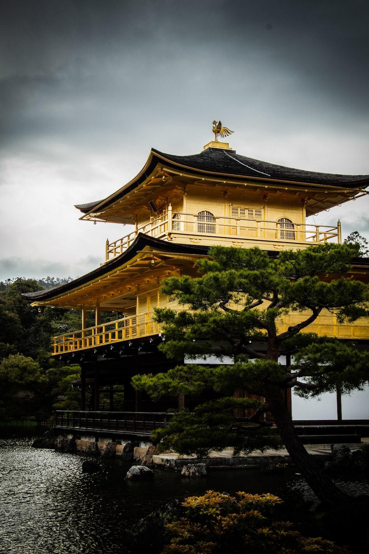 white and brown pagoda house