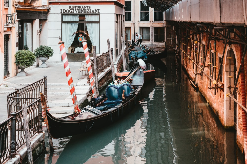 gondola boat floating in a canal