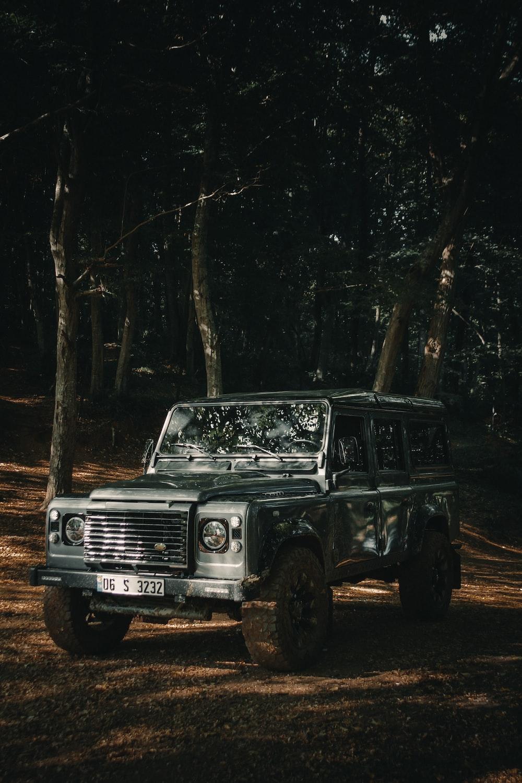 gray Jeep Rubicon SUV parking near trees