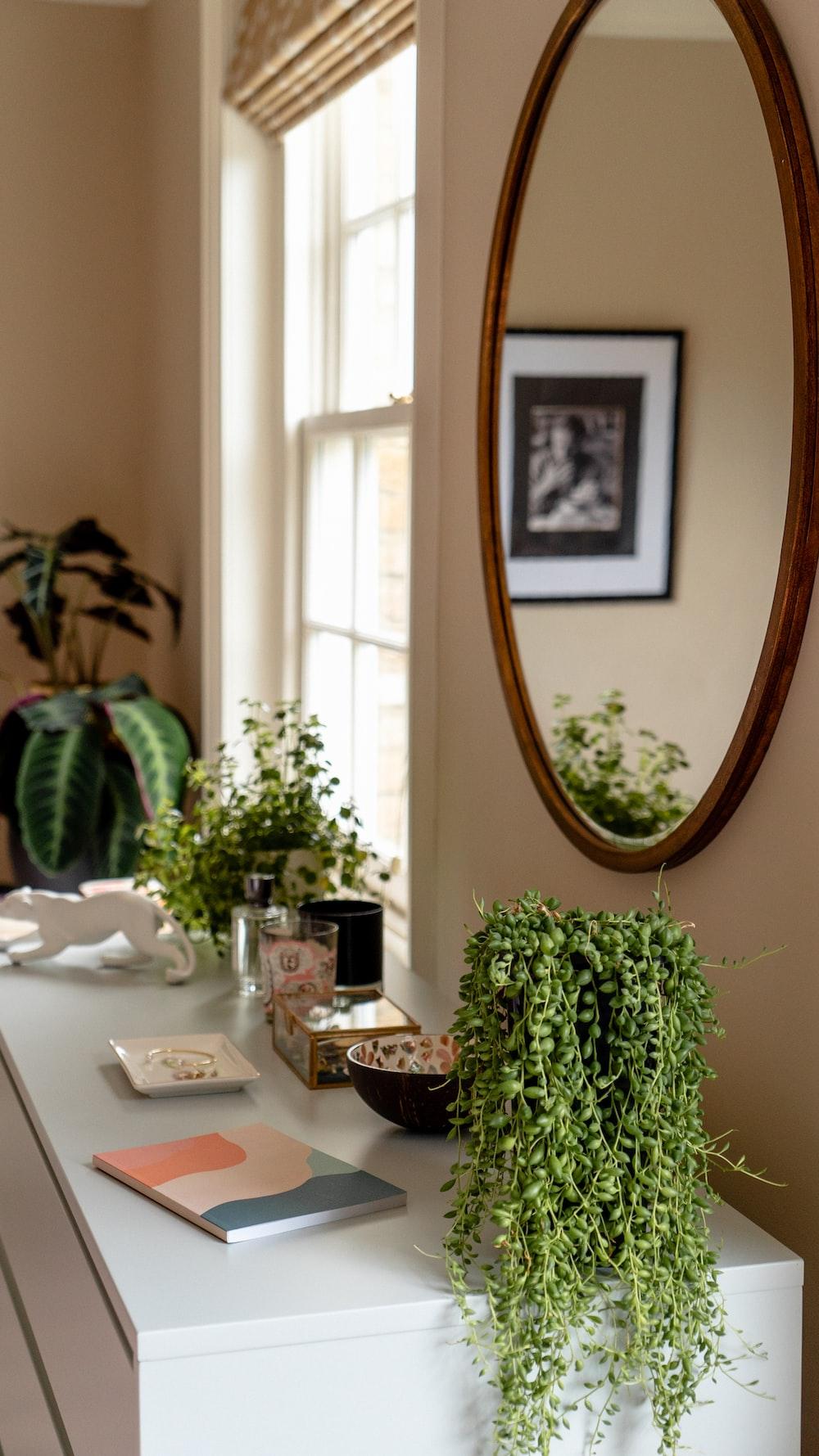 oval brown framed wall mirror beside window
