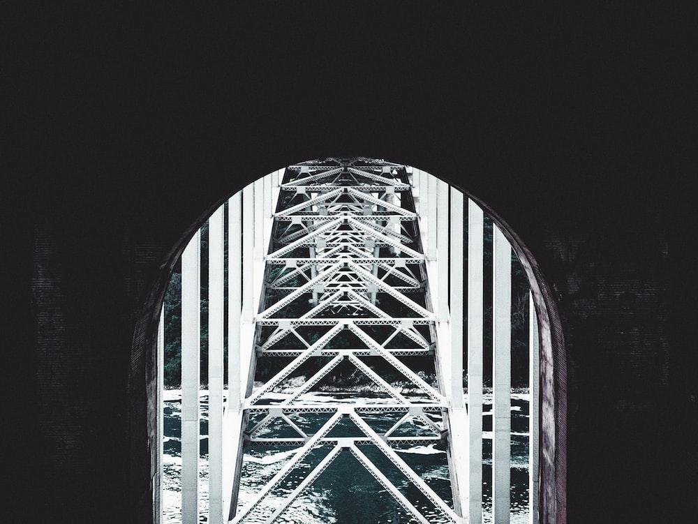 white steel bridge scenery