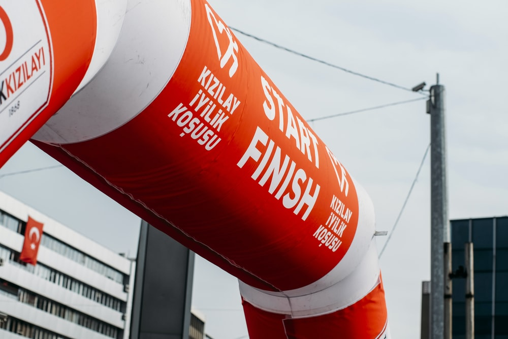 red and white Start Finish inflatable archway