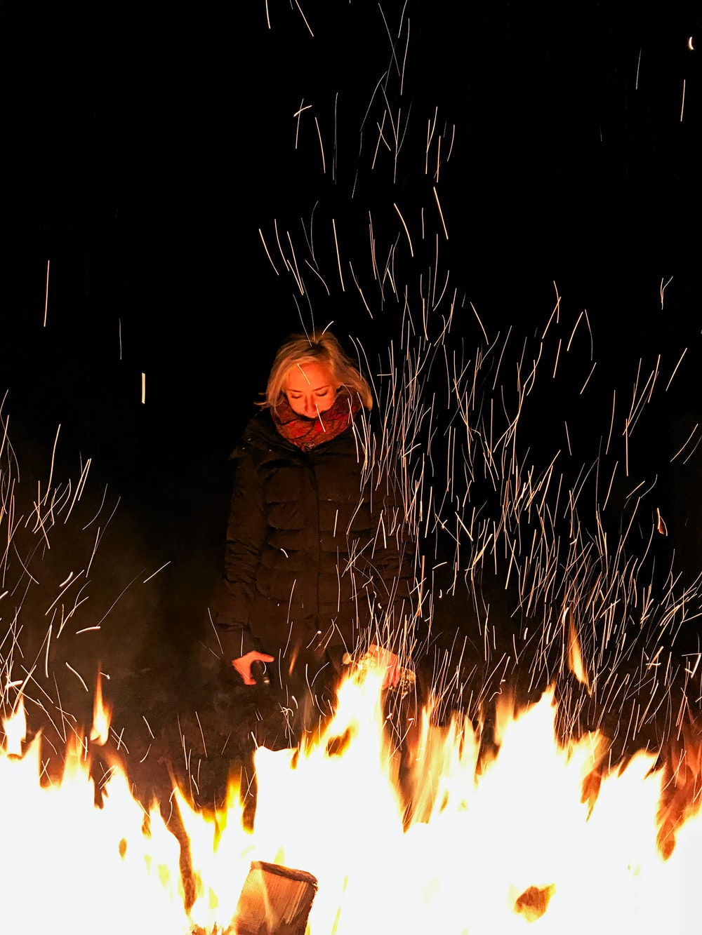 woman near fire