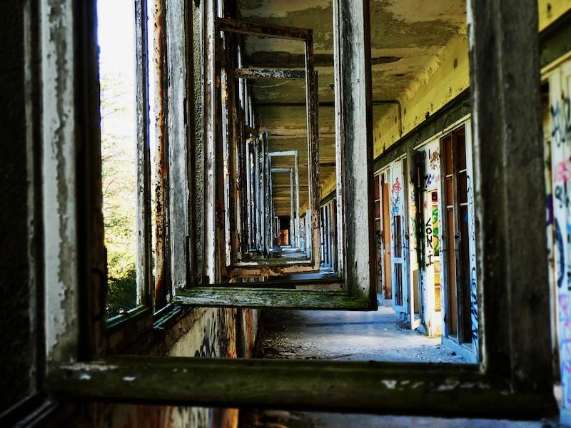 opened window in abandon building