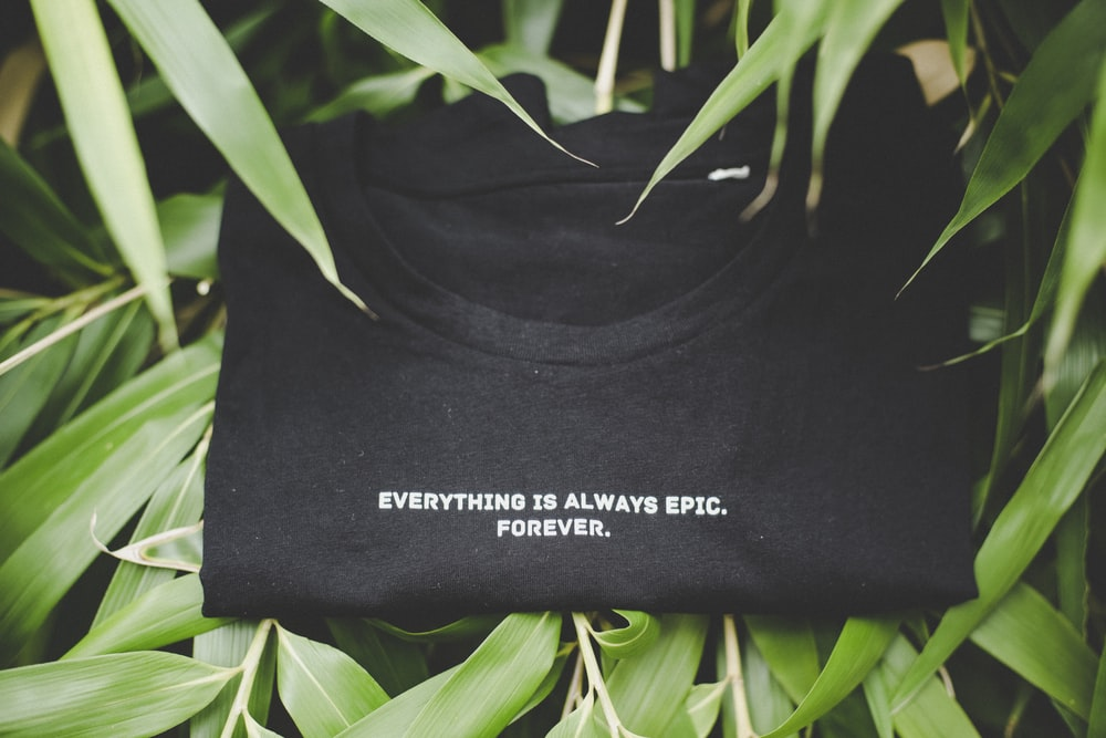 folded black and white everything is always epic forever print crew-neck shirt