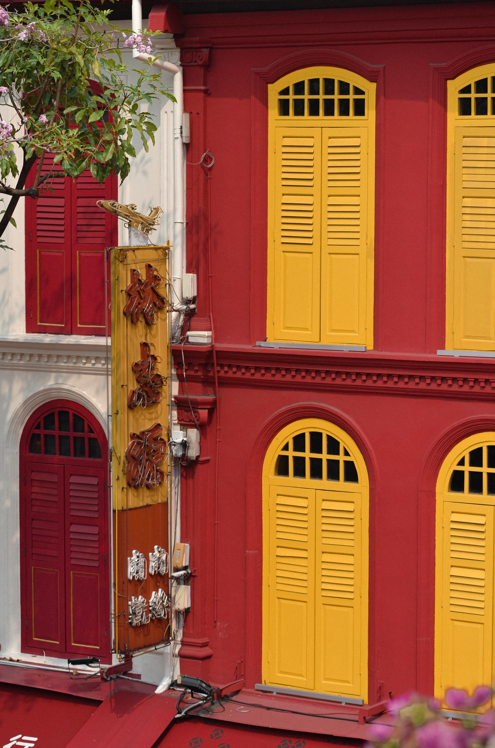 closed red and yellow doors