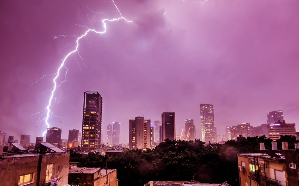 lightning striking buildings