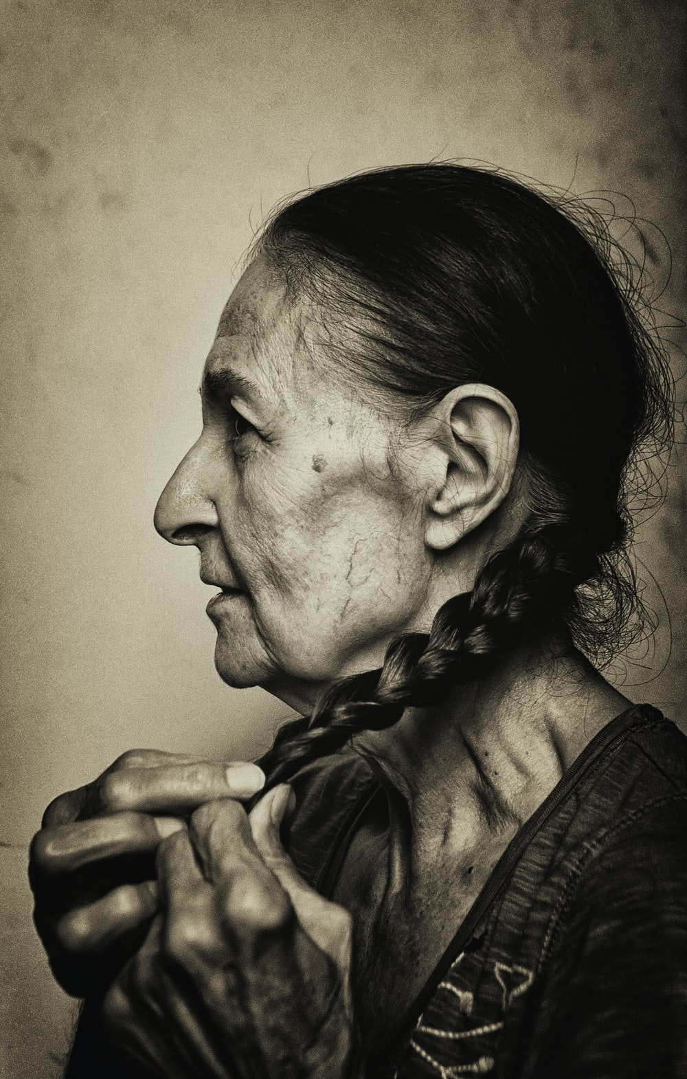 woman fixing hair portrait