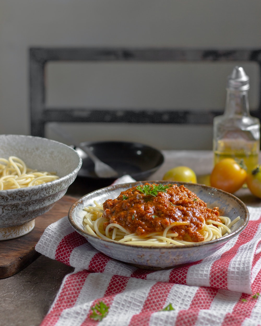 pasta with paste in gray bowl