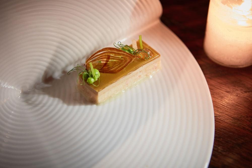 desert on white plate