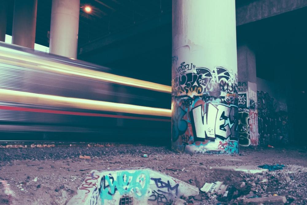 graffiti on post