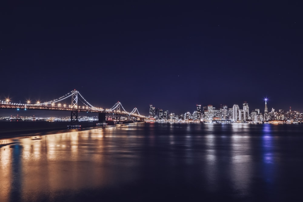 city during nighttime photograph