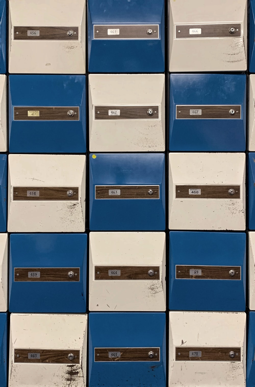 blue and white drawer cabinet
