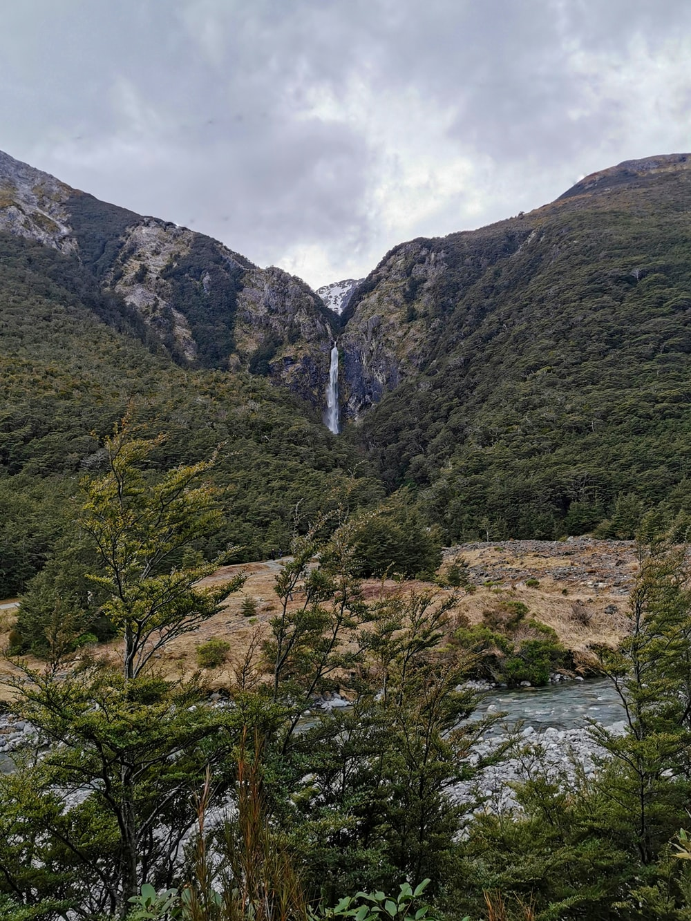 waterfall between cliffs facing trees