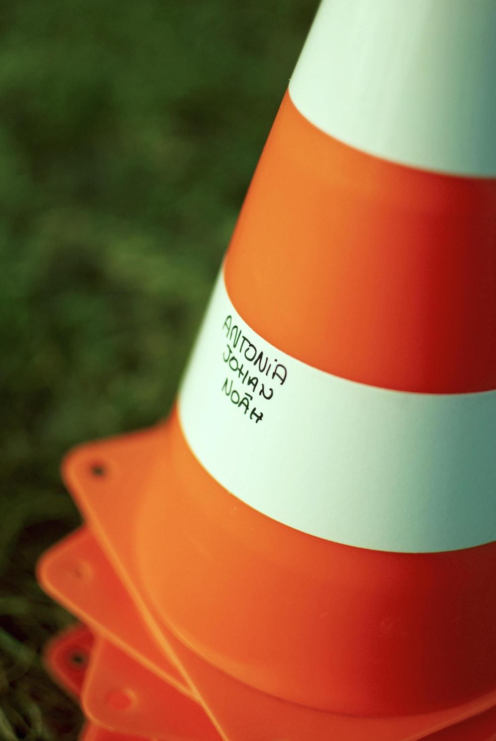 orange and white street cones
