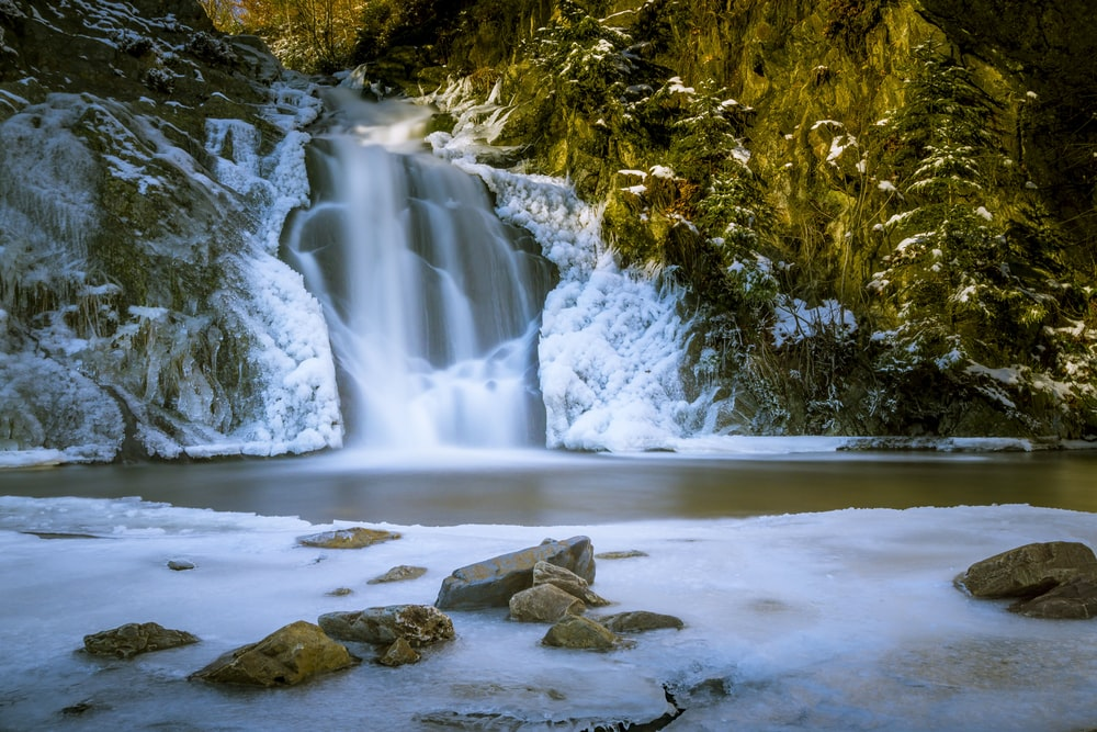 waterfall and snow field