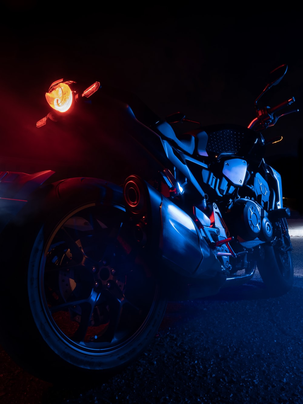 low-light photography of motorcycle