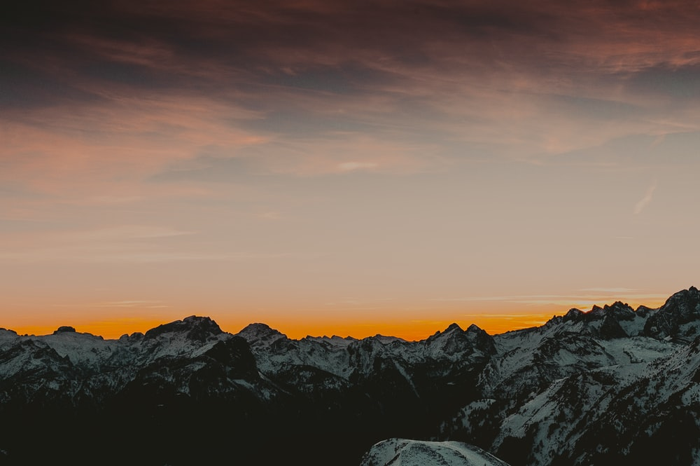 icy mountain sunset scenery