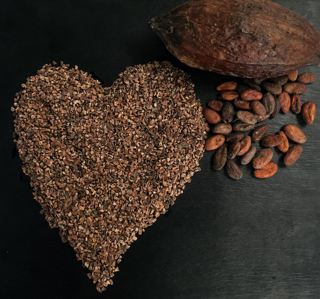 heart shaped cocoa nibs chocolate,
