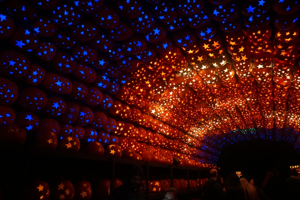 orange and blue LED light tunnel decor