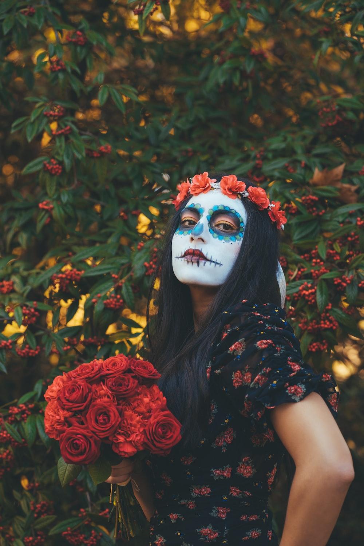 woman's skull makeup