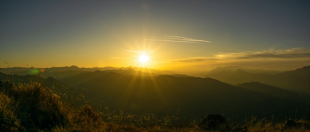aerial photography of mountain during sunrise
