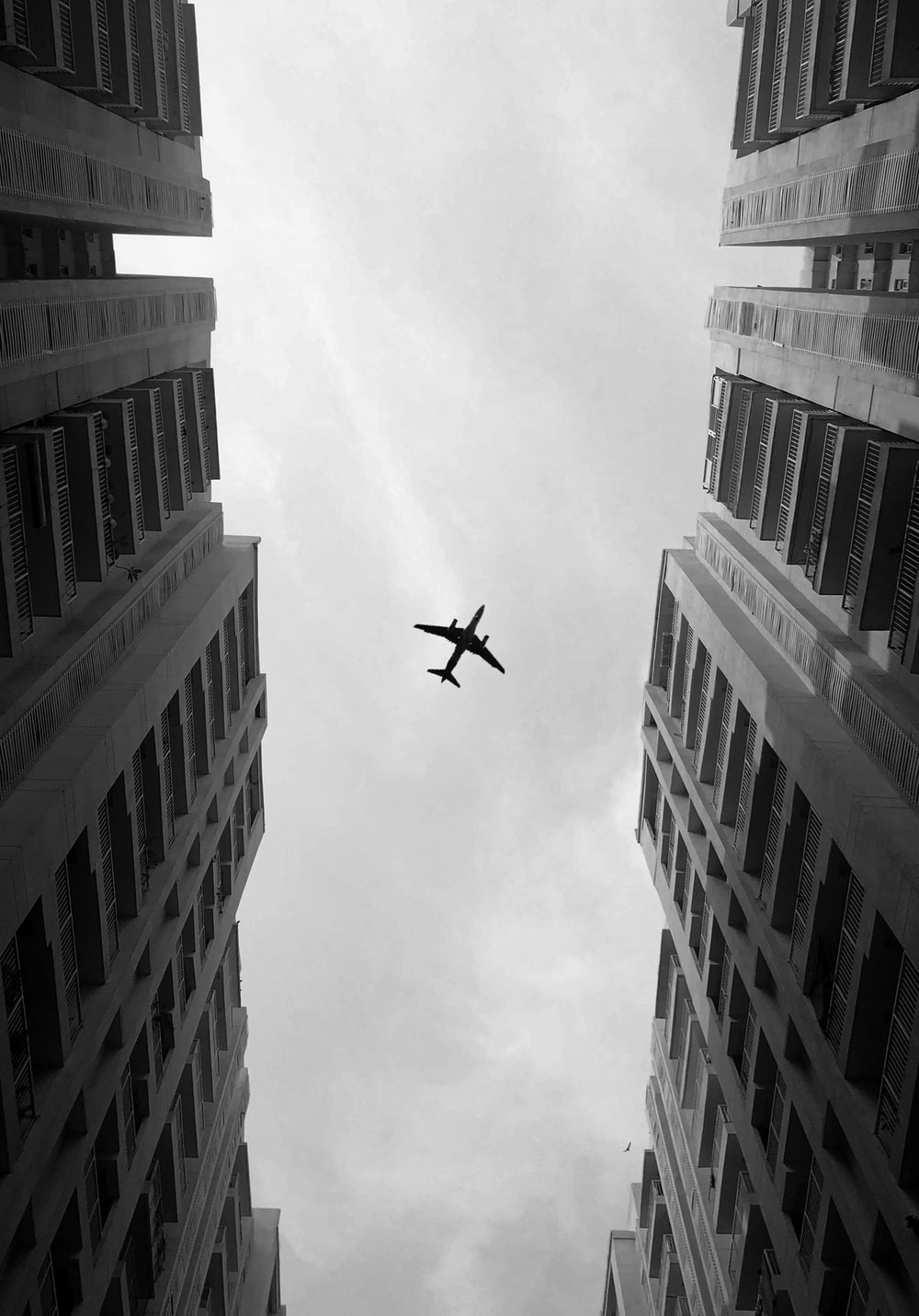 grayscale photo of airliner over high-rise building
