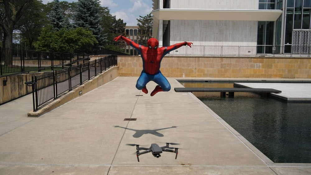 Spider-Man in front of DJI Mavic Pro drone