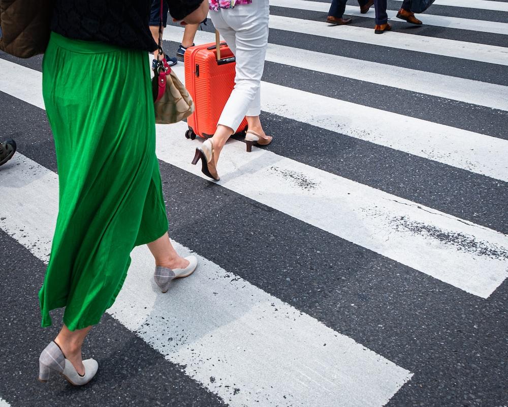people walking on crosswalk