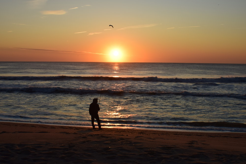 silhouette of person standing on seashore