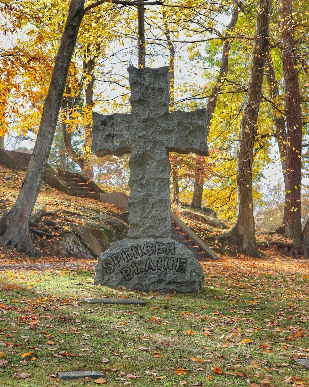concrete cross tombstone