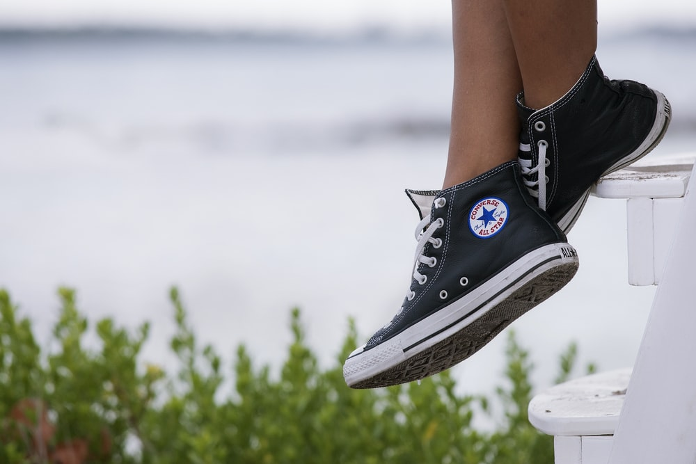 pair of black-and-white Converse All-Star high-top sneakers