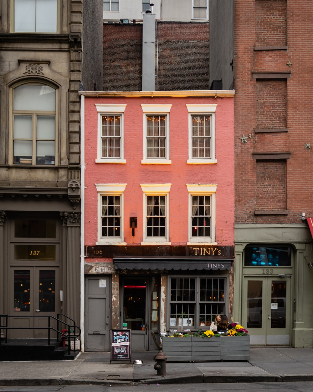 pink and white stone building