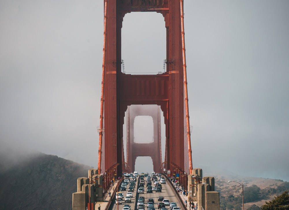 lot of vehicle on Golden Gate Bridge
