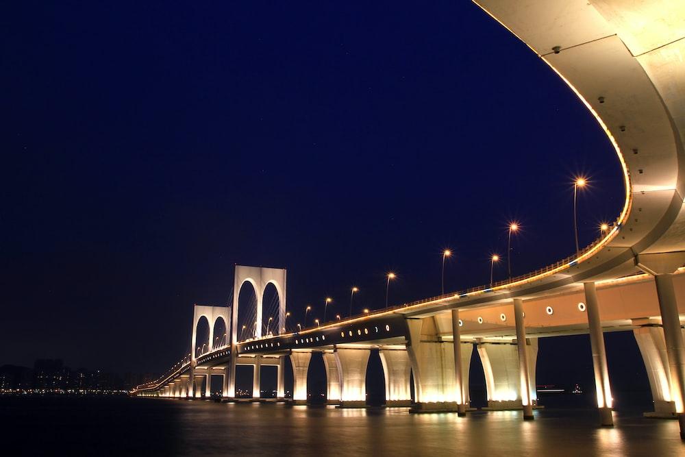 silver metal bridge