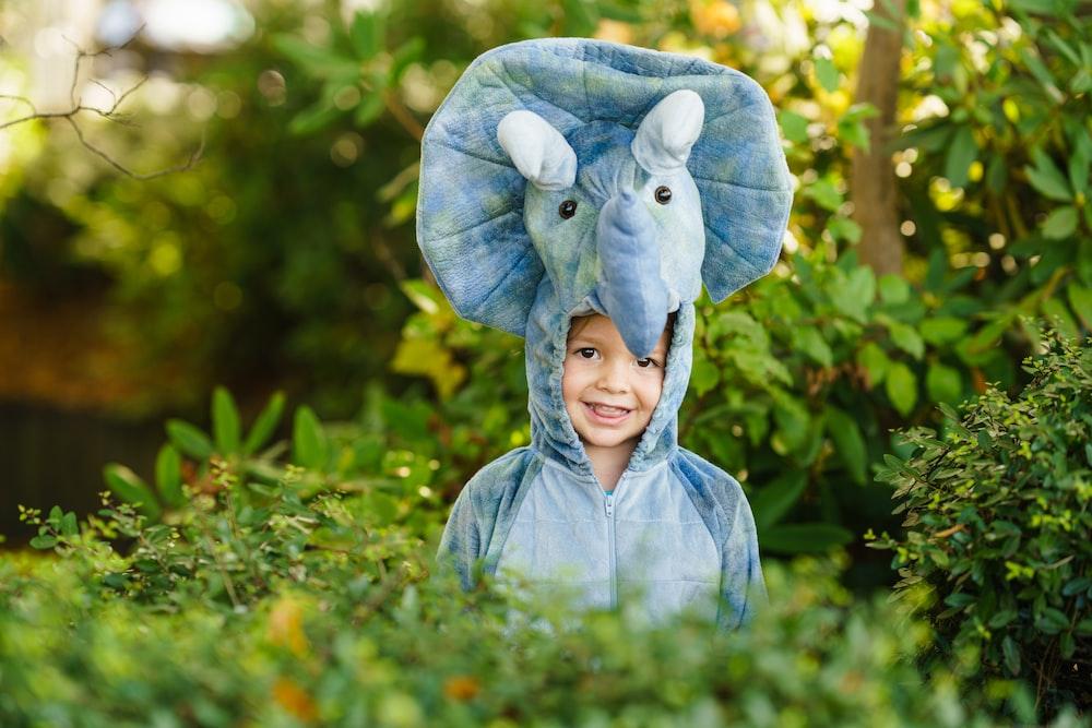 toddler on blue elephant costume