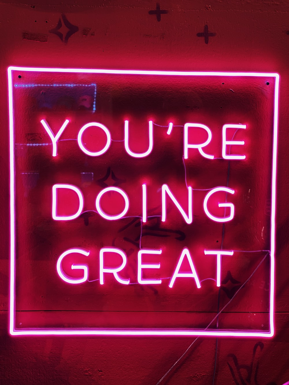 red you'red doing great neon sign