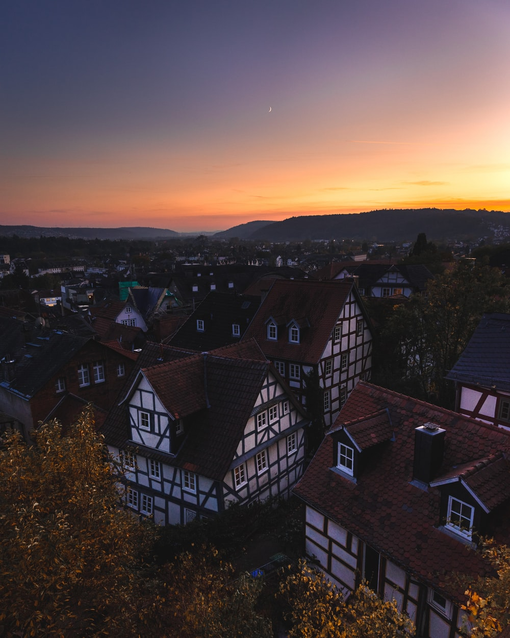 aerial photography of houses during golden hour