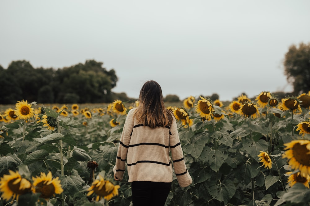 woman standing field of sunflower