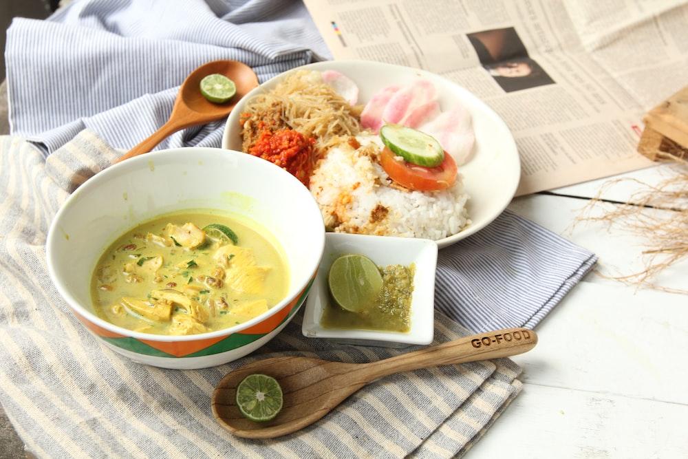 dish in white ceramic bowl