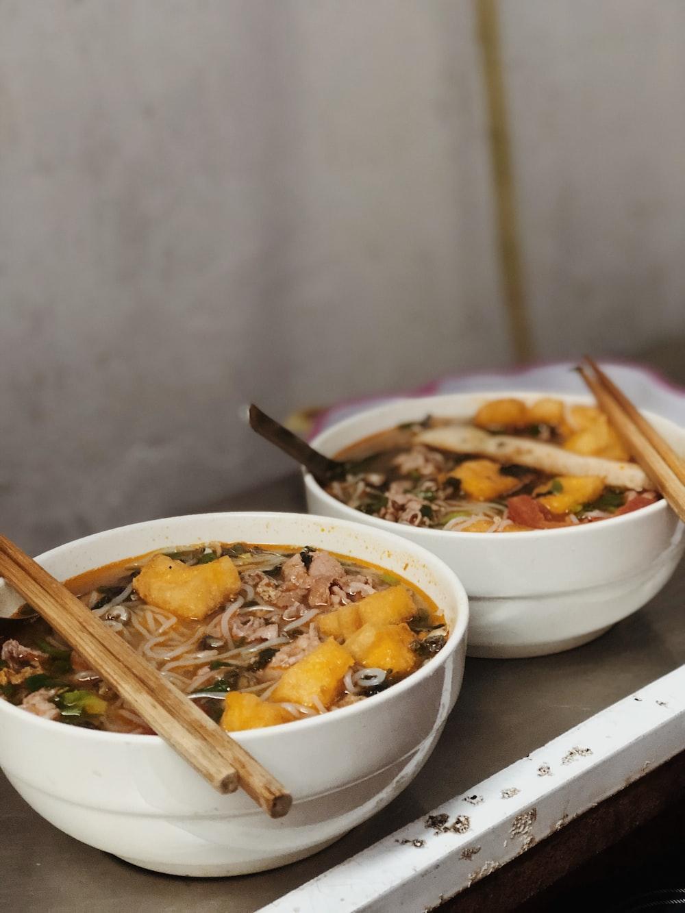 soup dish on white bowls